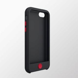 iPhone 5c用 カラフルシリコンケース ブラック×レッド