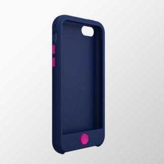 iPhone 5c用 カラフルシリコンケース ブルー×ディープピンク