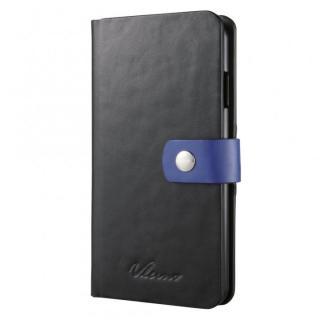 合成皮革手帳型ケース ブラック×ブルー iPhone 6ケース