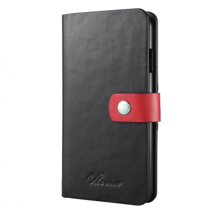 【iPhone6ケース】合成皮革手帳型ケース ブラック×レッド iPhone 6ケース_0