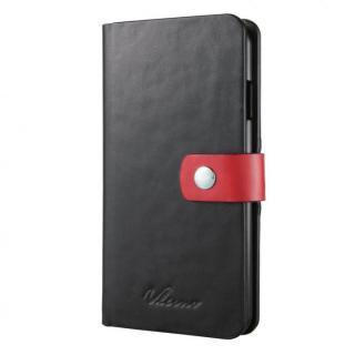 合成皮革手帳型ケース ブラック×レッド iPhone 6ケース