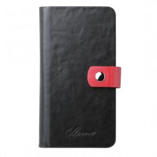 【iPhone6ケース】合成皮革手帳型ケース ブラック×レッド iPhone 6ケース_1