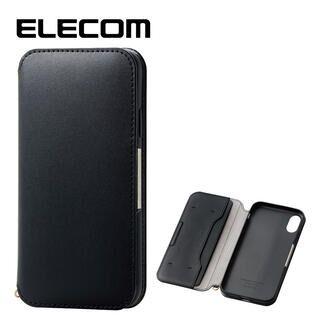 iPhone XR ケース エレコム NEUTZ レザー手帳型ケース  耐衝撃 カード収納 ブラック iPhone XR
