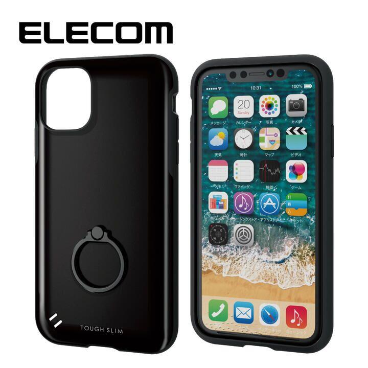 iPhone 11 ケース エレコム 耐衝撃ケース TOUGH SLIM フィンガーリング ブラック iPhone 11_0