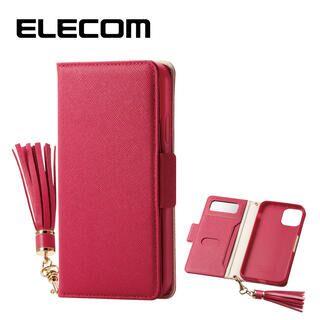 iPhone 11 ケース エレコム ミラー付き ICカード収納 タッセル付き 手帳型ケース ディープピンク iPhone 11