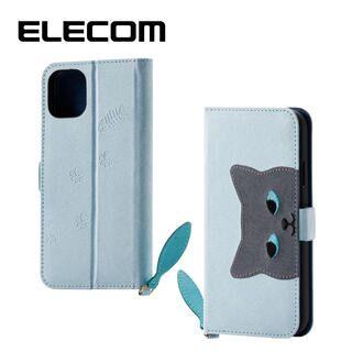 iPhone 11 ケース エレコム おしゃれ ネコ手帳型TPUケース ブルー iPhone 11