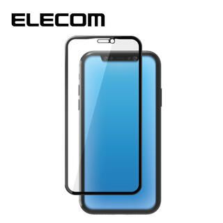 iPhone 11/XR フィルム エレコム 強化ガラス 9H全面 指紋防止 ブラック リアルガラス iPhone 11/XR【9月中旬】