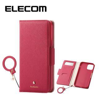 iPhone 11 Pro ケース エレコム ミラー付き ICカード収納 フィンガーストラップ付き 手帳型ケース ディープピンク iPhone 11 Pro