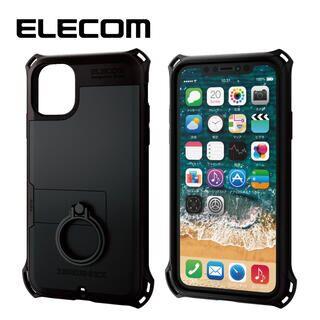 iPhone 11 ケース エレコム リング付き ZEROSHOCK 超耐衝撃ケース ブラック iPhone 11