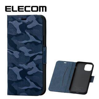 iPhone 11 Pro ケース エレコム レザー手帳型ケース 薄型・超軽量 迷彩 カモフラ ネイビー iPhone 11 Pro