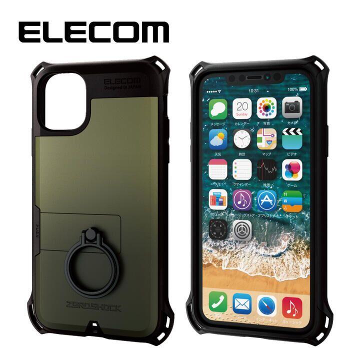 iPhone 11 ケース エレコム リング付き ZEROSHOCK 超耐衝撃ケース カーキ iPhone 11_0