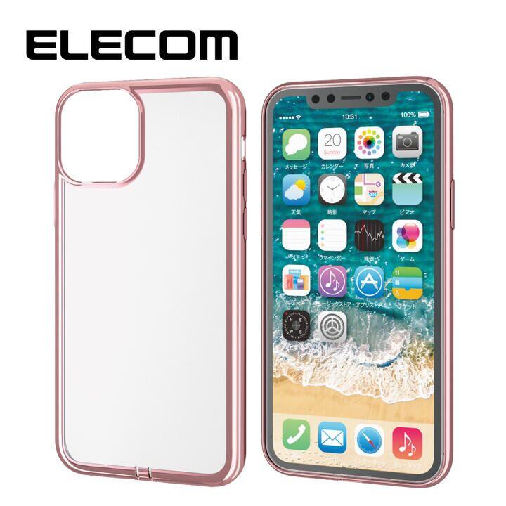 iPhone 11 Pro ケース エレコム メタリック加工 シンプルクリアソフトケース ローズゴールド iPhone 11 Pro_0