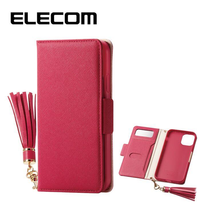 iPhone 11 ケース エレコム ミラー付き ICカード収納 タッセル付き 手帳型ケース ディープピンク iPhone 11_0