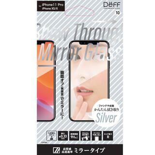 iPhone 11 Pro フィルム Show Through Mirror Glass 強化ガラス シルバー iPhone 11 Pro【9月下旬】