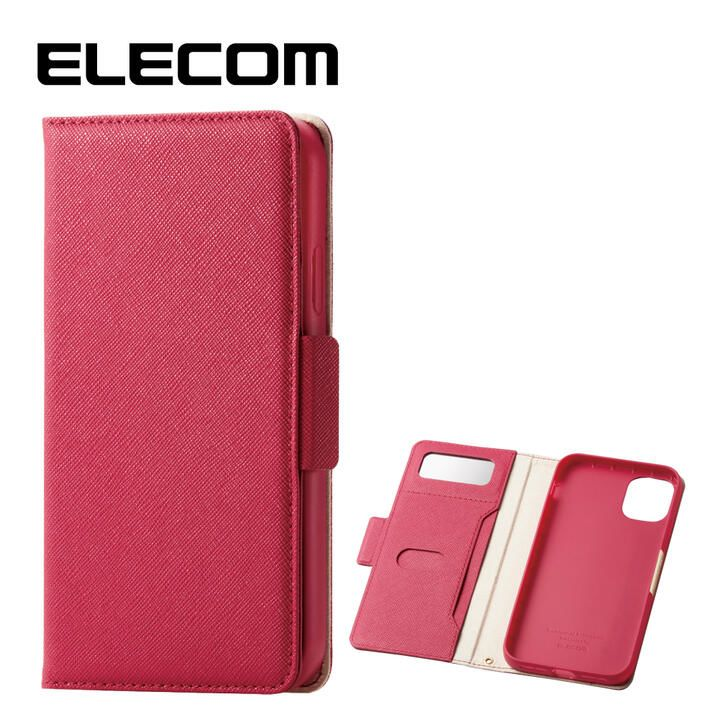 iPhone 11 ケース エレコム ミラー付き ICカード収納 手帳型ケース ディープピンク iPhone 11_0
