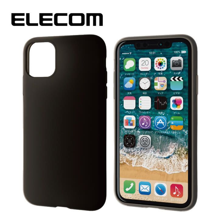iPhone 11 ケース エレコム シリコン シンプル 耐衝撃 ブラック iPhone 11_0