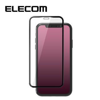 iPhone 11/XR フィルム エレコム 強化ガラス 9H 全面 反射 / 指紋 ブラック iPhone 11/XR