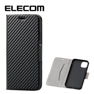 iPhone 11 ケース エレコム ウルトラスリムタイプ ソフト手帳型レザーケース カーボン調(ブラック) iPhone 11