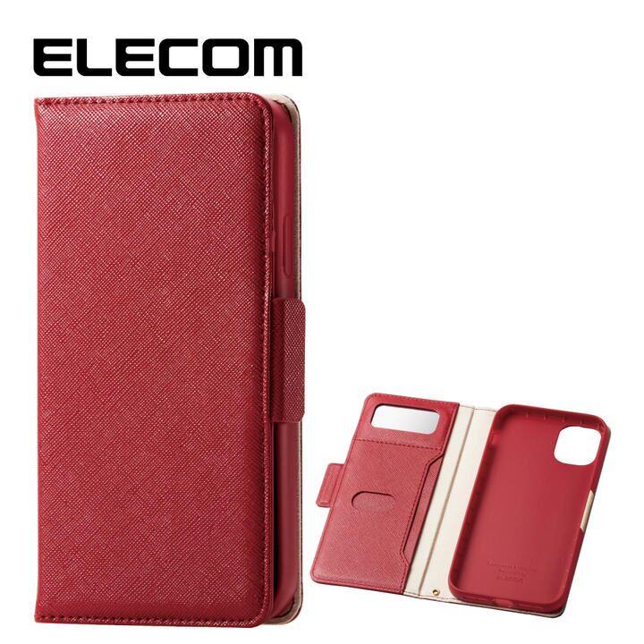 iPhone 11 ケース エレコム ミラー付き ICカード収納 手帳型ケース レッド iPhone 11_0