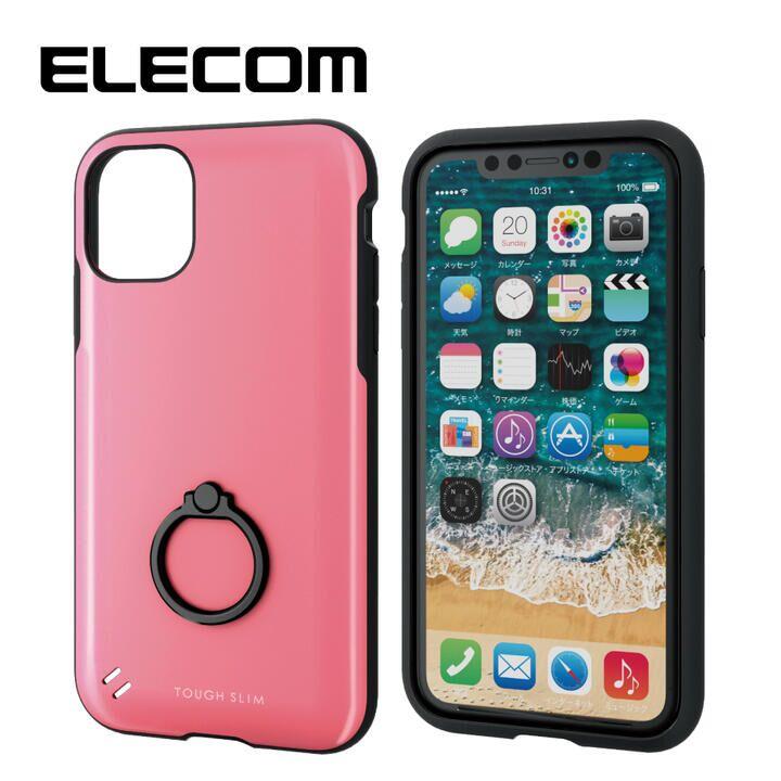 iPhone 11 ケース エレコム 耐衝撃ケース TOUGH SLIM フィンガーリング ピンク iPhone 11_0