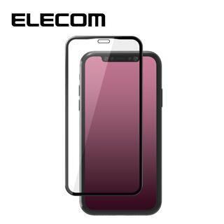 iPhone 11/XR フィルム エレコム 強化ガラス 9H全面 指紋防止 0.33mm/ブラック iPhone 11/XR