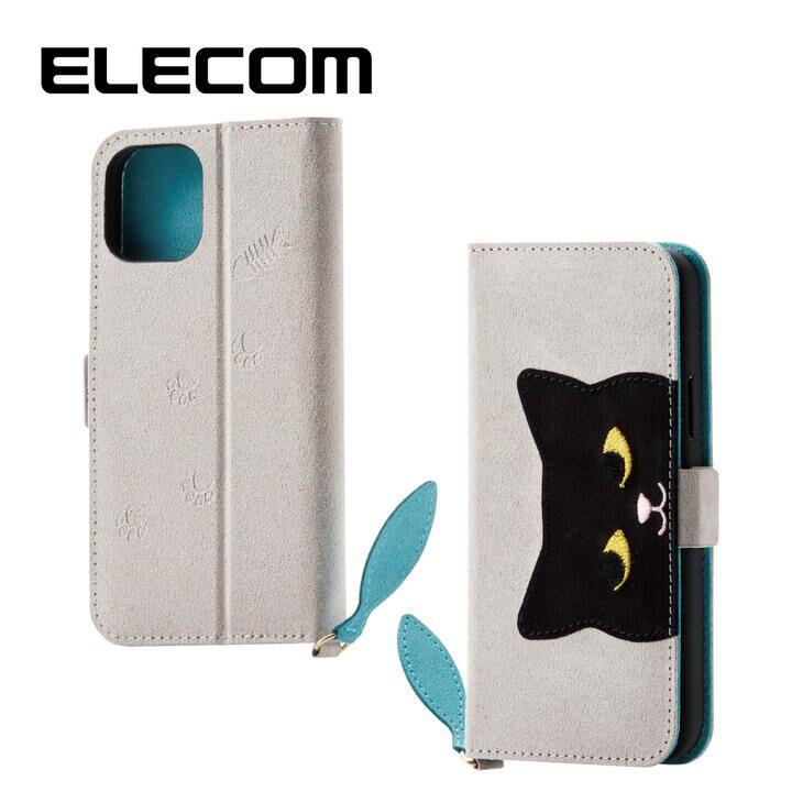 iPhone 11 Pro ケース エレコム おしゃれ ネコ手帳型TPUケース グレー iPhone 11 Pro_0
