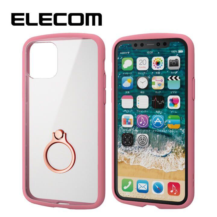 iPhone 11 Pro ケース エレコム TOUGH SLIM LITE リング 衝撃吸収ケース クリアピンク iPhone 11 Pro_0