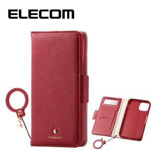iPhone 11 Pro ケース エレコム ミラー付き ICカード収納 フィンガーストラップ付き 手帳型ケース レッド iPhone 11 Pro