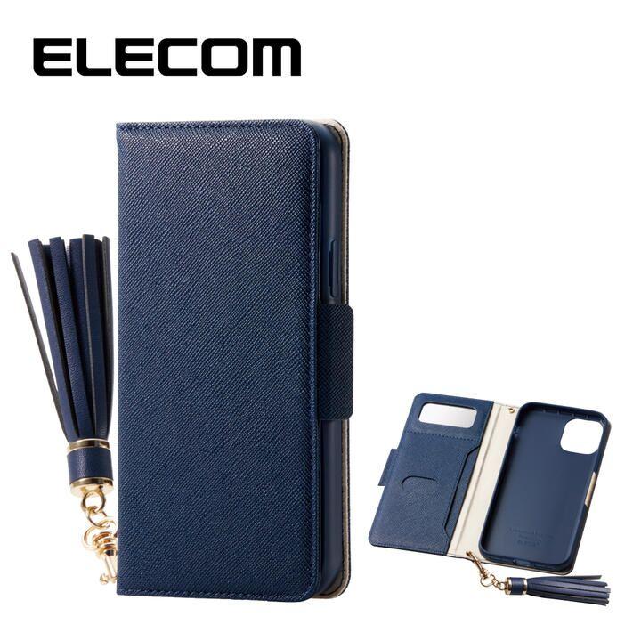 iPhone 11 Pro ケース エレコム ミラー付き ICカード収納 タッセル付き 手帳型ケース ネイビー iPhone 11 Pro_0