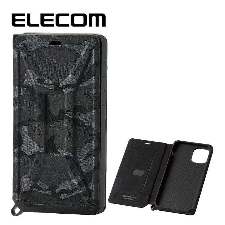 iPhone 11 Pro ケース エレコム ZEROSHOCK 超耐衝撃手帳型ケース 迷彩 ブラック iPhone 11 Pro_0