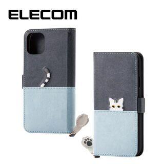 iPhone 11 ケース エレコム ネコ手帳型TPUケース ダークグレー×ブルー iPhone 11