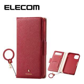 iPhone 11 ケース エレコム ミラー付き ICカード収納 フィンガーストラップ付き 手帳型ケース レッド iPhone 11