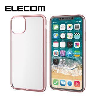 iPhone 11 Pro Max ケース エレコム メタリック加工 シンプルクリアソフトケース ピンク iPhone 11 Pro Max