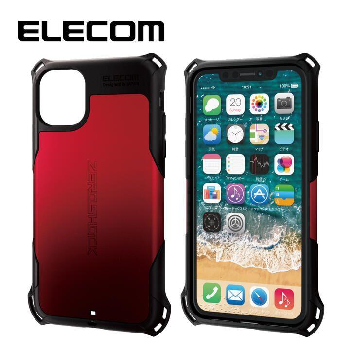 iPhone 11 ケース エレコム ZEROSHOCK 耐衝撃ケース レッド iPhone 11_0