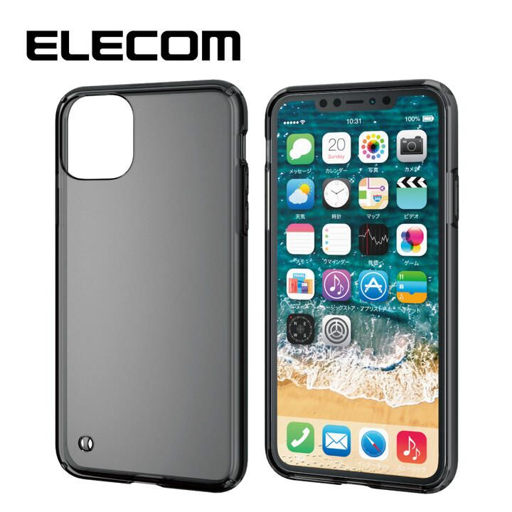 iPhone 11 Pro Max ケース エレコム シンプル耐衝撃 ハイブリッドケース 透明 ブラック iPhone 11 Pro Max_0
