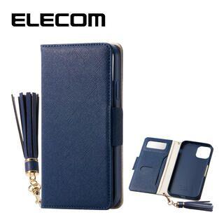iPhone 11 ケース エレコム ミラー付き ICカード収納 タッセル付き 手帳型ケース ネイビー iPhone 11