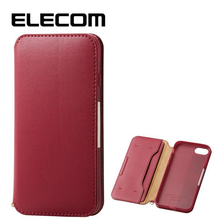 iPhone8/7 ケース エレコム NEUTZ レザー手帳型ケース  耐衝撃 カード収納 レッド iPhone 8/7_0