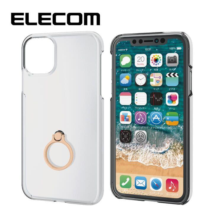 iPhone 11 ケース エレコム リング付クリアハードケース ゴールド iPhone 11_0