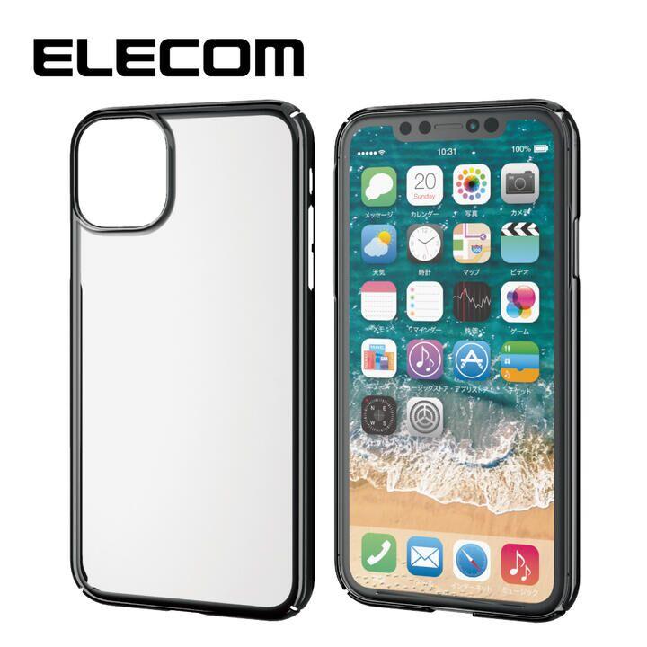 iPhone 11 ケース エレコム メタリック加工 シンプルクリアハードケース ブラック iPhone 11_0