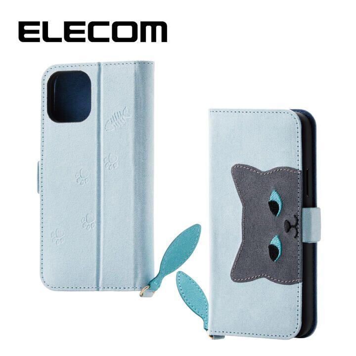 iPhone 11 Pro ケース エレコム おしゃれ ネコ手帳型TPUケース ブルー iPhone 11 Pro_0