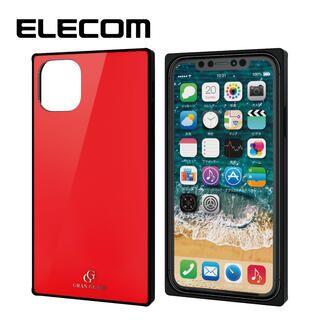 iPhone 11 ケース エレコム スクエア ガラス TPU ハイブリッドケース レッド1 iPhone 11