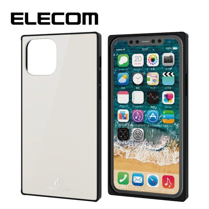 iPhone 11 Pro ケース エレコム スクエア ガラス TPU ハイブリッドケース ホワイト iPhone 11 Pro_0