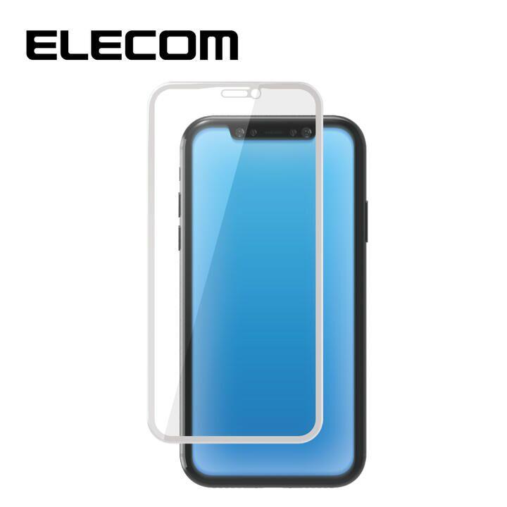 iPhone XR フィルム エレコム 強化ガラス 9H全面 BLカット 指紋防止 ホワイト iPhone 11/XR_0
