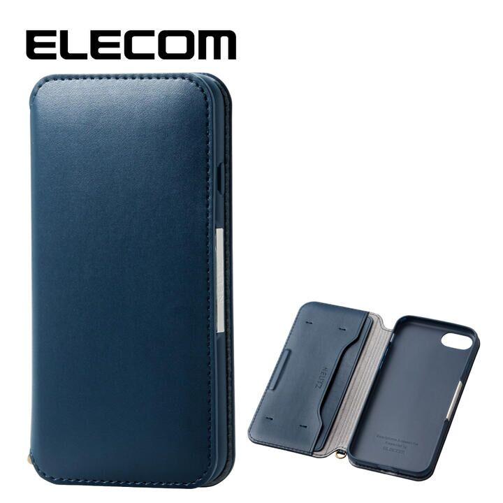 iPhone8/7 ケース エレコム NEUTZ レザー手帳型ケース  耐衝撃 カード収納 ネイビー iPhone 8/7_0