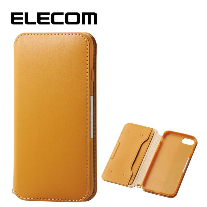 iPhone8/7 ケース エレコム NEUTZ レザー手帳型ケース  耐衝撃 カード収納 キャメル iPhone 8/7_0