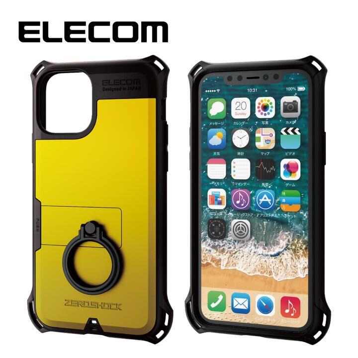 iPhone 11 Pro ケース エレコム リング付き ZEROSHOCK 超耐衝撃ケース イエロー iPhone 11 Pro_0
