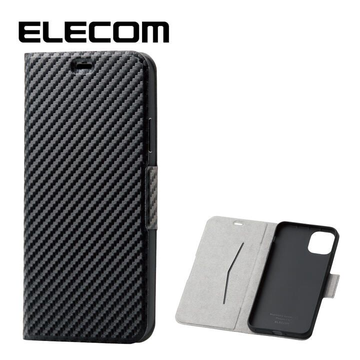 エレコム ウルトラスリムタイプ ソフト手帳型レザーケース カーボン調(ブラック) iPhone 11 Pro Max_0