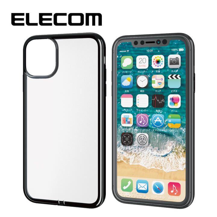 iPhone 11 ケース エレコム メタリック加工 シンプルクリアソフトケース ブラック iPhone 11_0