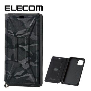 iPhone 11 ケース エレコム ZEROSHOCK 超耐衝撃手帳型ケース 迷彩 ブラック iPhone 11