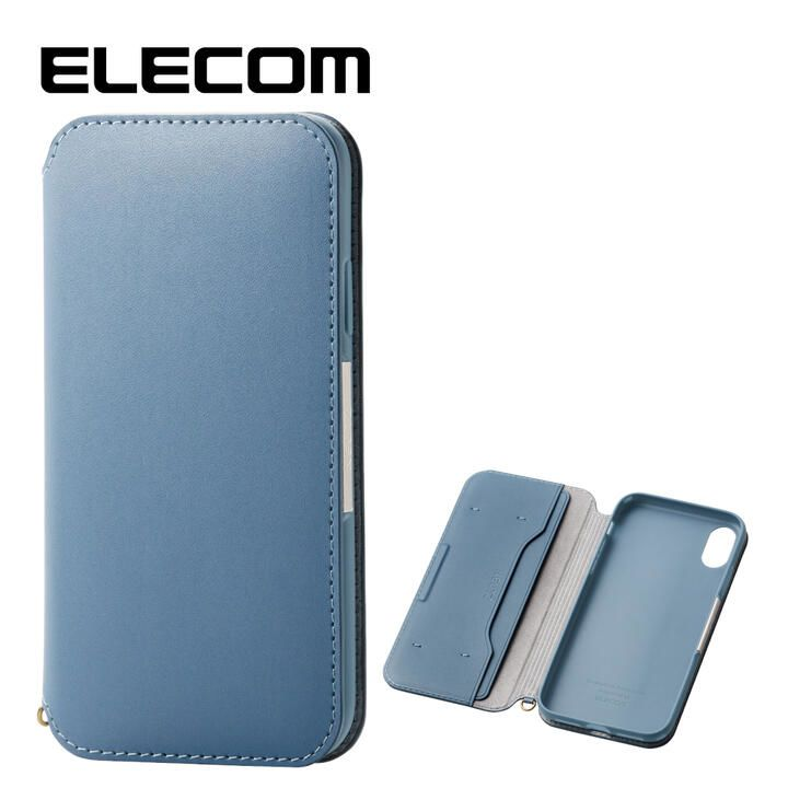 iPhone XR ケース エレコム NEUTZ レザー手帳型ケース  耐衝撃 カード収納 ブルー iPhone XR_0